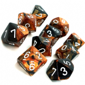 Black & Copper Gemini D10 Ten Sided Dice Set